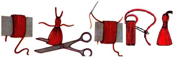как сделать кисти из ниток (2)