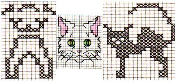 схемы вышивок кошки1