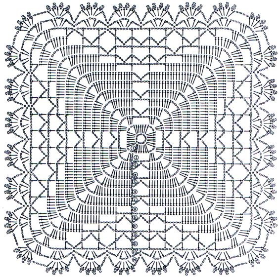 схемы вязания квадратов крючком 1
