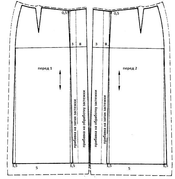 Как сшить юбку с планкой впереди на пуговицах 945