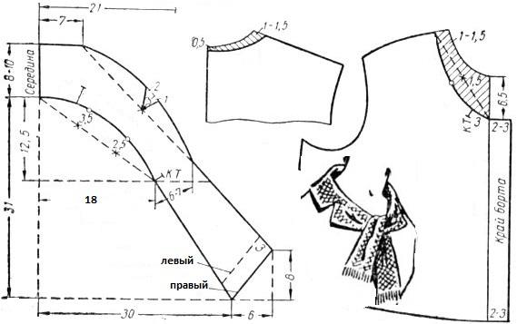 Выкройка воротника бант на блузке